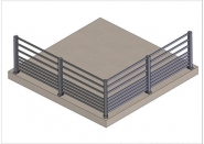 Garde-corps aluminium remplissage 10 lisses horizontales gris 7016