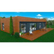 Maison à ossature en bois plain-pied moov 4 / surface habitable 114 m² / surface brute 135 m² / 4 pièces / toit plat