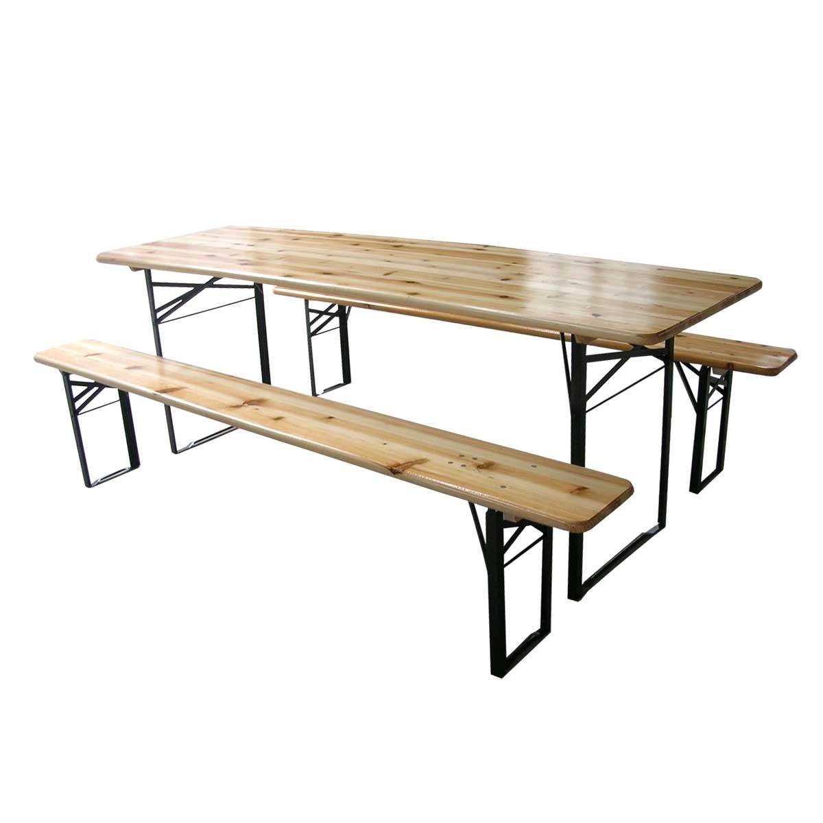 Table Et 2 Bancs Pliants Bois 10 Places 220 Cm