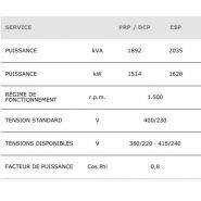 Gtw-1900 t5 50 hz triphasé groupe électrogène industriel - genelec -1908 kva