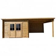3792 - abri toit plat 9m² plus 40mm + terrasse 9m² traité marron gardy shelter