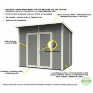 2695 - abri de jardin 4,31m² skur 4 + plancher traité peint gris baltic